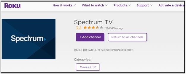 spectrum tv app on roku app store