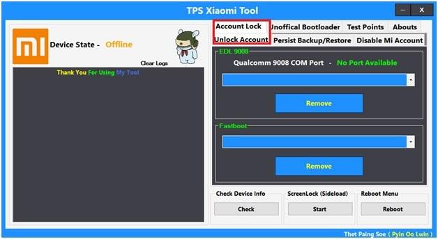 tps xiaomi tool mi account unlock