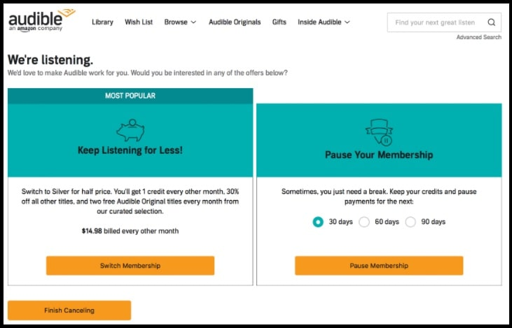 how to unsubscribe Audible