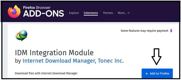 IDM Integration Module Extension firefox browser