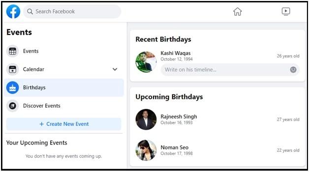 friends birthday on facebook