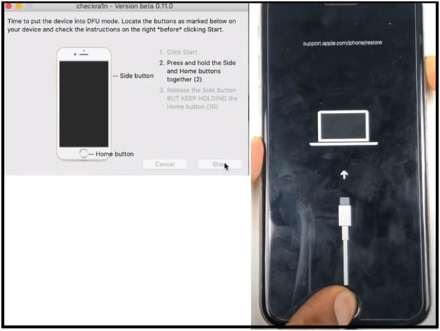instructions to boot iphone into dfu mode