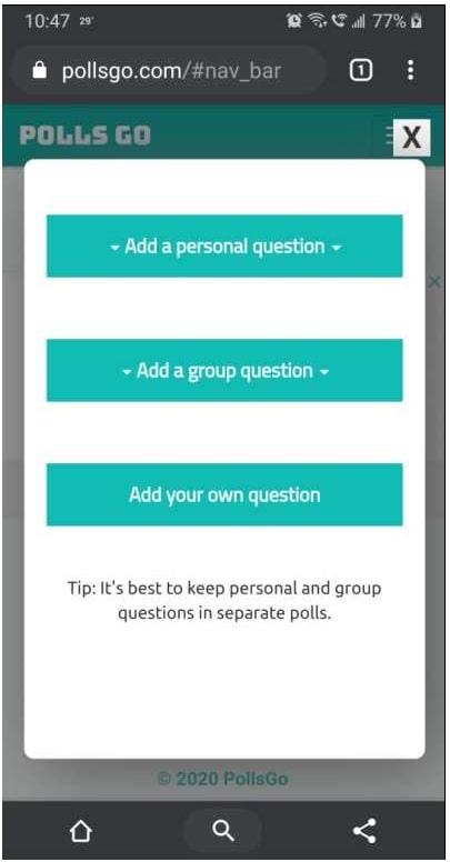 pollsgo web browser to create polls for Snapchat