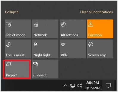 windows 10 project section