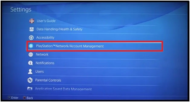 Network Account Management ps4