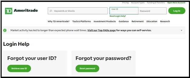 TD Ameritrade password reset page