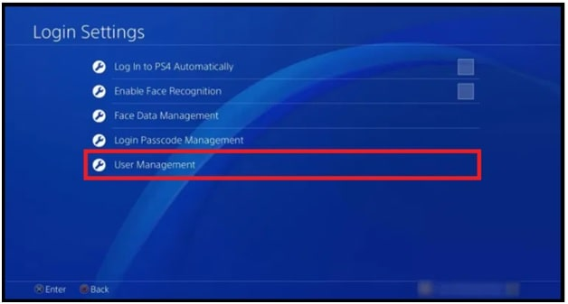 ps4 user management to delete user account