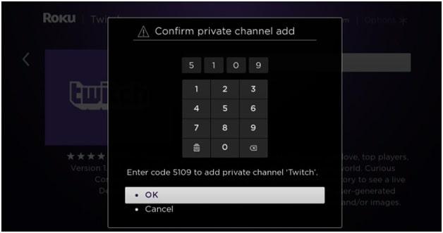 roku private channel add