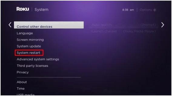 ROKU System restart
