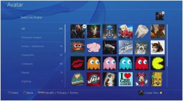 select avatar psn account