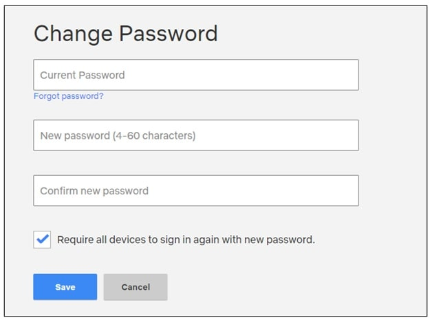 create new password netflix account