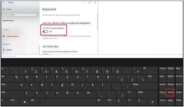 on screen keyboard screen lock