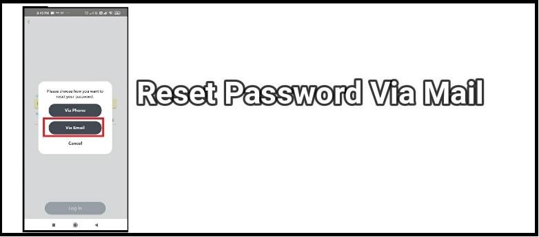 reset snapchat password via mail