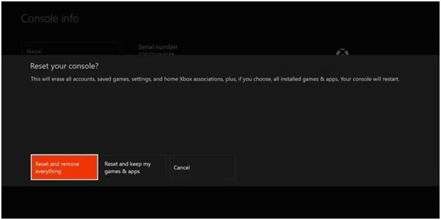 reset and remove everything xbox