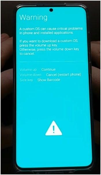 sasmung s20 download mode warning message