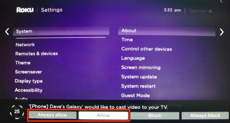 android screen mirroring permission on roku