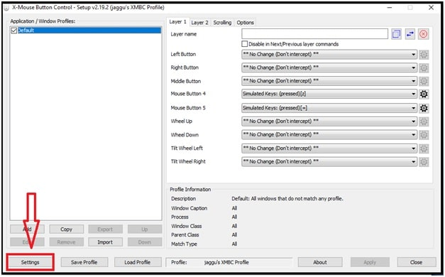 x mouse control button settings