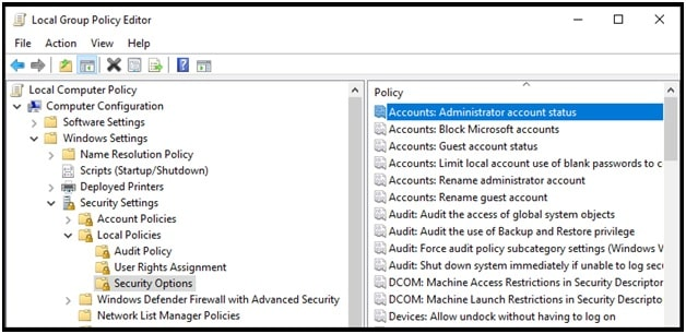 Enable The Built-in Administrator Account