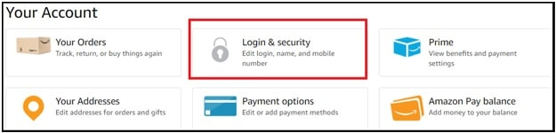 Amazon Login & Security to change email address