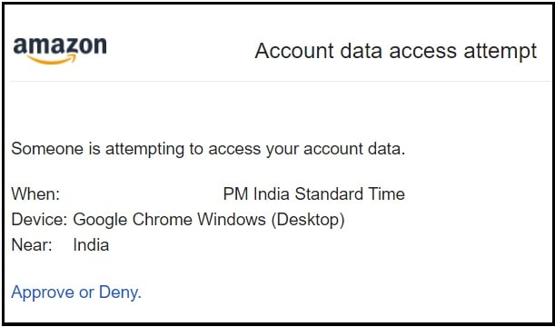 Amazon account data access attempt email