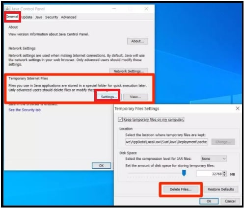Jave Cache In Windows Using Control Panel
