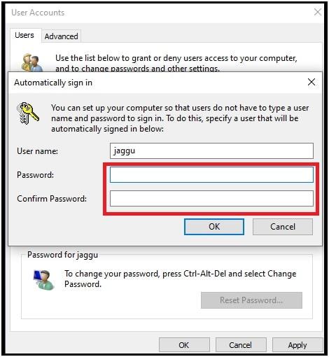 automatically signin windows 10
