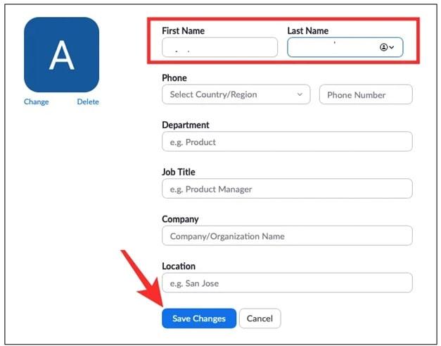 change name on zoom desktop client app