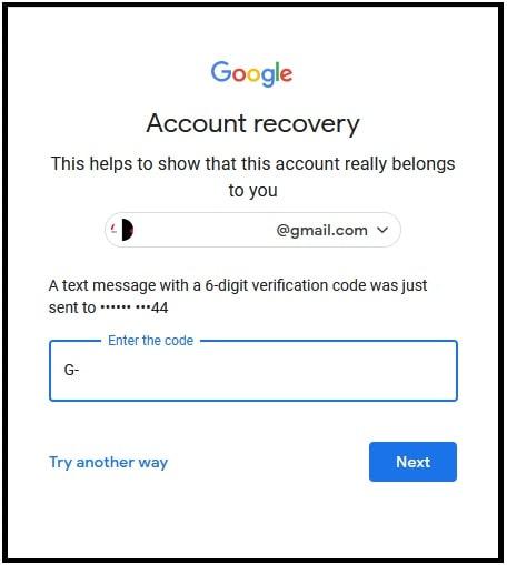 enter Gmail Forgot Password Verification Code