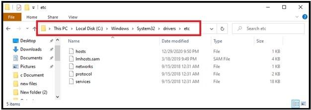 host file location in windows 10 pc