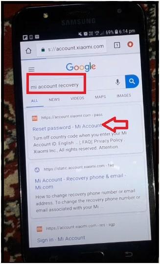 mi account password recovery online