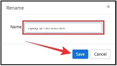 save new name