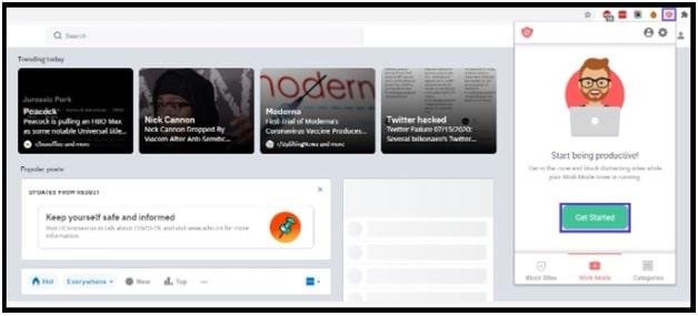 start website blocker extension in chrome browser