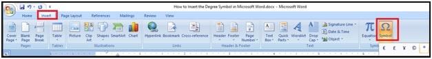 Insert the Degree Symbol in Microsoft Word