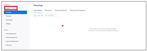 zoom meeting profile option