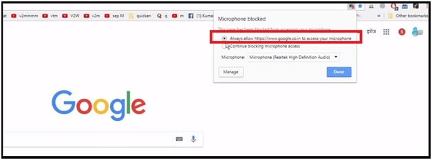 Always allow www.google.com to access your microphone