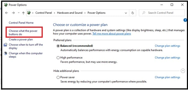 Choose what the power buttons do windows 10