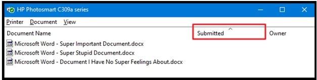 Delete Document From Printer Queue