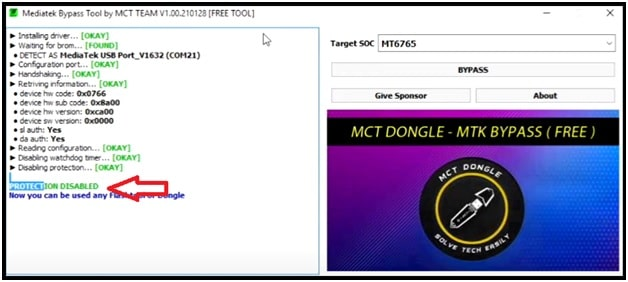 Disable Protection using mct tool