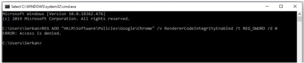 Disable RendererCodeIntegrityEnabled using Command Prompt