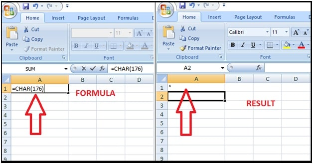 Insert The degree Sign In Excel Using CHAR Formula