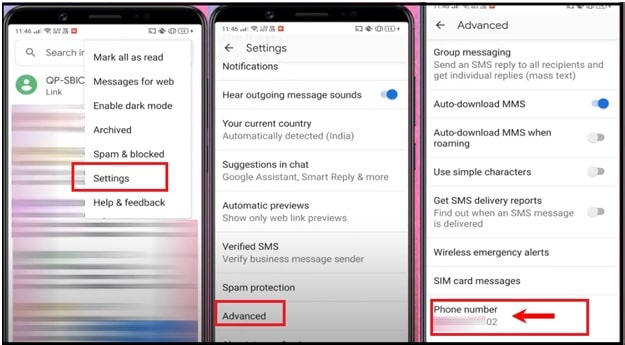 Locate Own Phone Number Using Messaging App