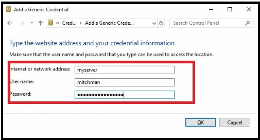 RDP connections are not saving the username and password