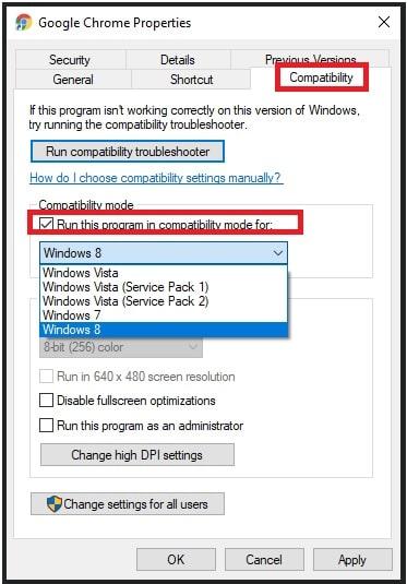 Run Chrome in compatibility mode