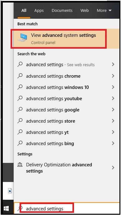 View Advanced System Settings