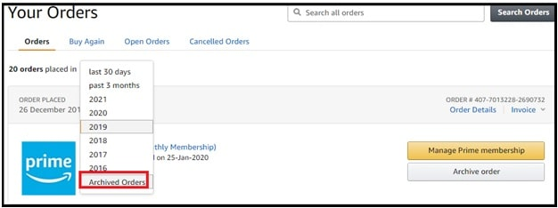archived orders option in amazon
