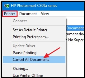 cancel all documents from Printer Queue In Windows Pc