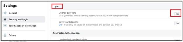 change facebook messenger password