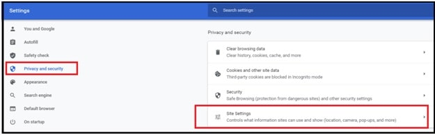 chrome privacy and settings