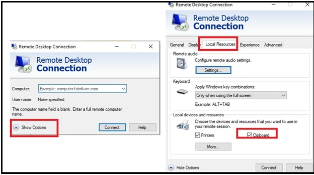 configure clipboard in remote desktop client app