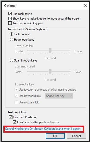 control whether the On-Screen Keyboard starts when I sign in windows 10